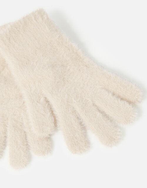 Super-Stretch Fluffy Knit Gloves, Natural (NATURAL), large