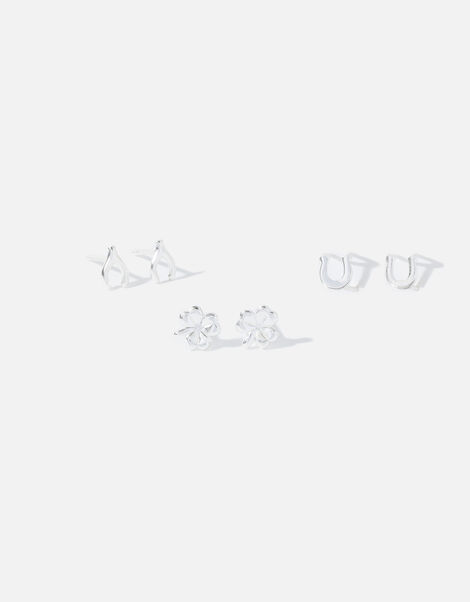 Sterling Silver Lucky Charm Stud Set, , large