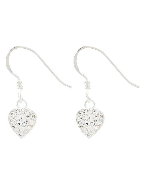 Sterling Silver Crystal Heart Drop Earrings, , large