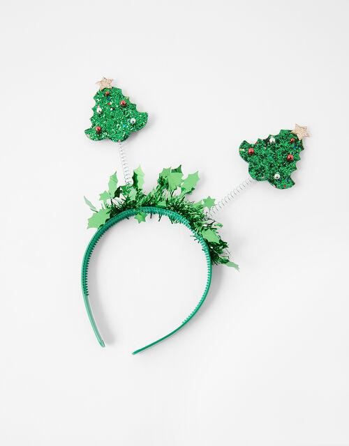 Glitter Christmas Tree Bopper Headband, , large