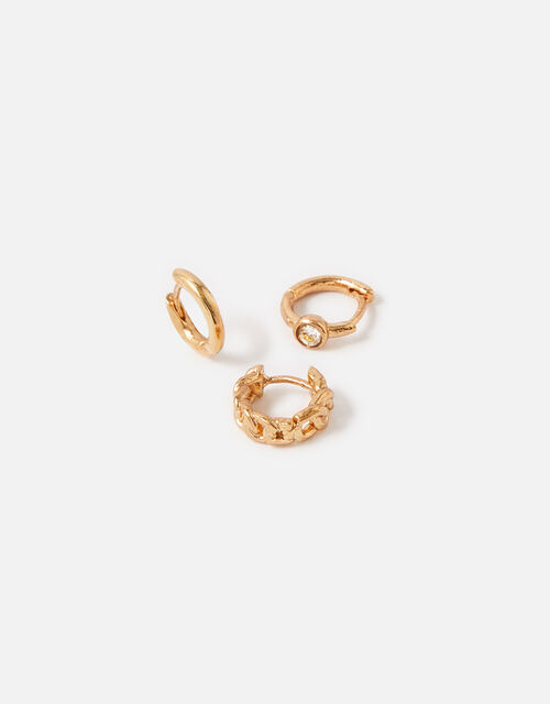 Plain Chain Crystal Hoop Set , Gold (GOLD), large