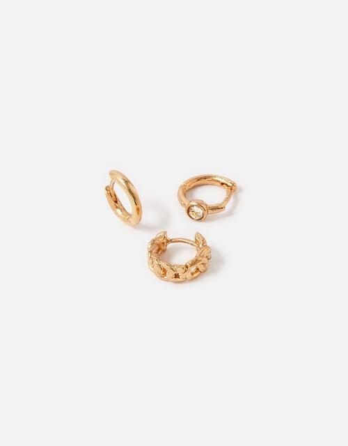 Plain Chain Crystal Hoop Set , Gold (GOLD), large