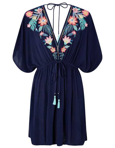 Palm and Floral Embroidered Kaftan Blue, Blue (NAVY), large