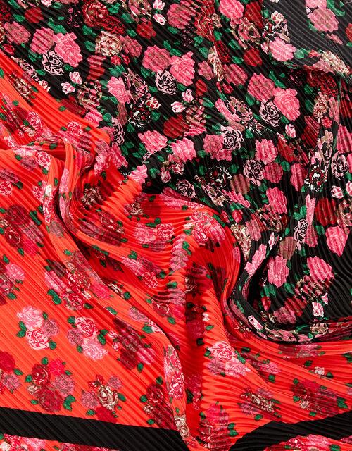 Floral Crinkle Square Scarf, , large