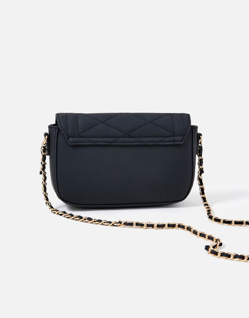 Chrissy Quilted Chain Cross-Body Bag, Black (BLACK), large