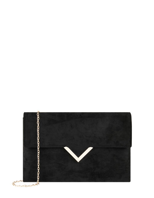 Natalie Suedette Clutch Bag, Black (BLACK), large