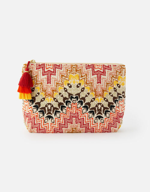 Embroidered Woven Washbag, , large