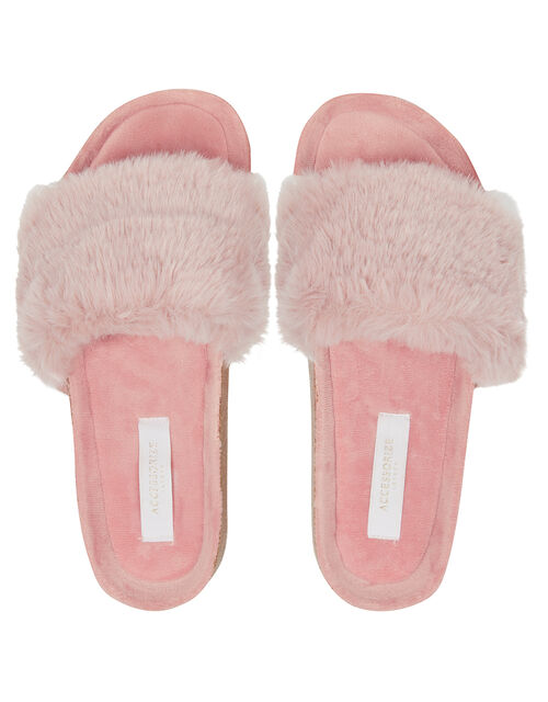 Faux Fur Sliders, Pink (PINK), large