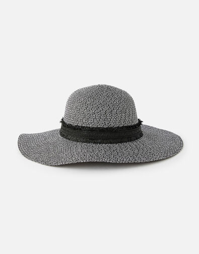 Rhodes Braid Floppy Hat  Black, Black (BLACK/WHITE), large