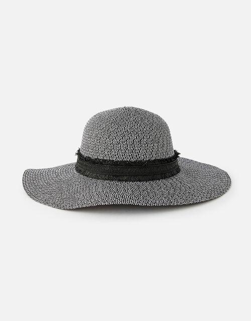 Rhodes Braid Floppy Hat , Black (BLACK/WHITE), large