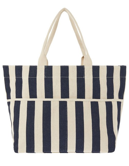 Woven Striped Tote Bag, Blue (NAVY), large
