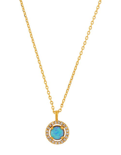 Gold-Plated Opal Pendant Necklace, , large