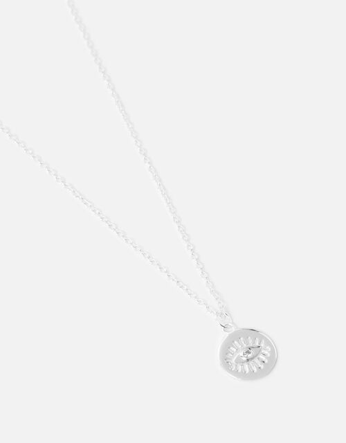 Sterling Silver Eye Pendant Necklace, , large