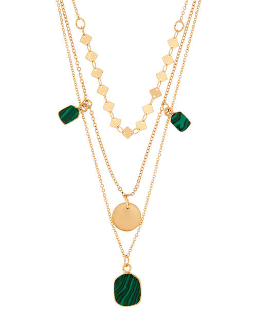Malachite Charm Multirow Necklace, , large