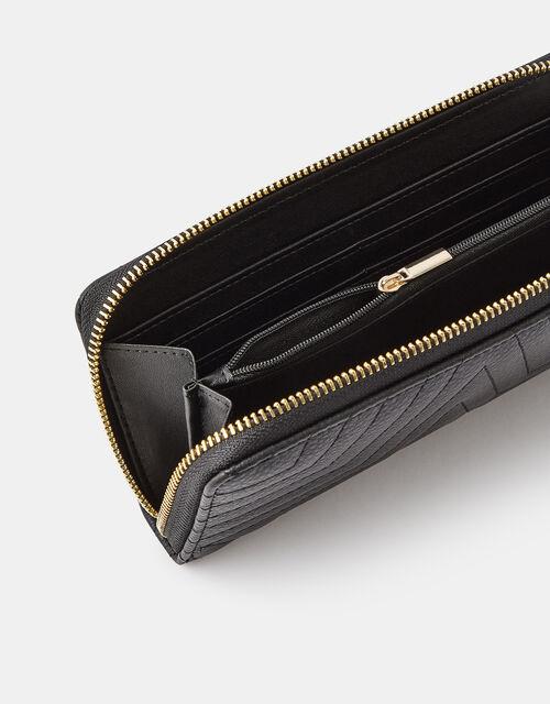 Quilted Star Zip-Around Wallet, Black (BLACK), large