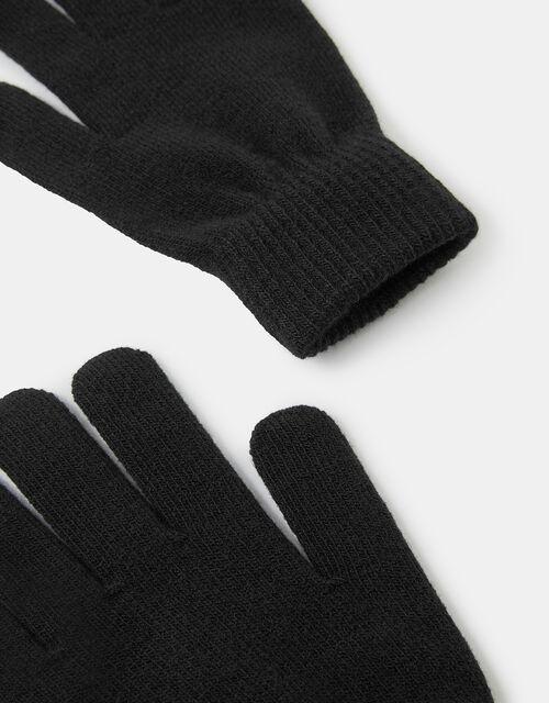Super-Stretch Knit Gloves, Black (BLACK), large