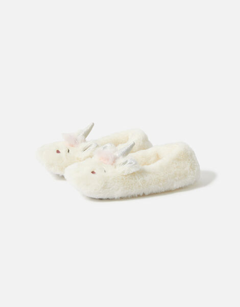 Girls Unicorn Character Slippers Natural, Natural (IVORY), large