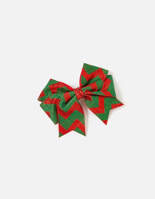 Festive Stripe Bow Barette, , large
