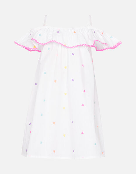 Heart Embroidered Bardot Dress  White, White (WHITE), large