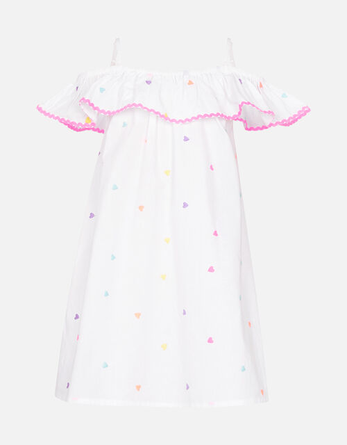 Heart Embroidered Bardot Dress , White (WHITE), large
