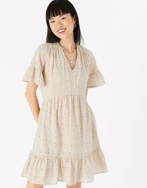 Schiffli Mini Dress , Camel (BEIGE), large