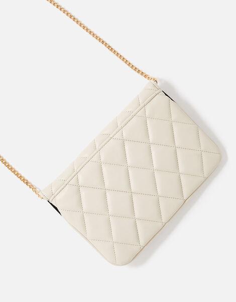 Quilted Clutch Bag Cream, Cream (CREAM), large