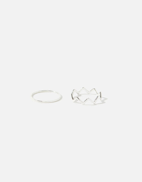 Sterling Silver Stacking Ring Set , Silver (ST SILVER), large