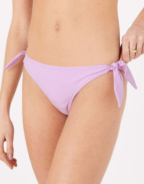 Tie Front Bikini Briefs Purple, Purple (LILAC), large