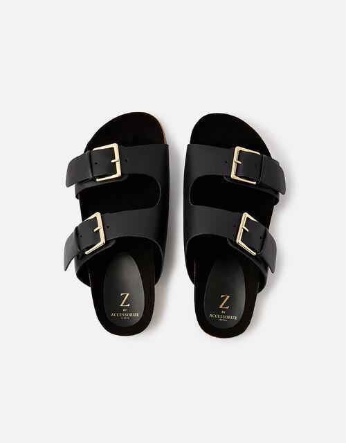Buckle Footbed Leather Sandals , Black (BLACK), large