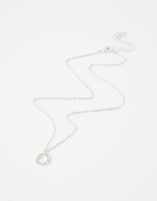 Pave Cut-Out Circle Pendant Necklace, , large