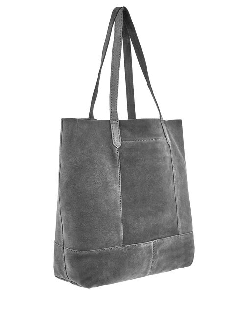 Leather Tote Bag, Grey (GREY), large