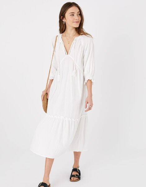 Crinkle Tiered Maxi Dress in Pure Cotton White, White (WHITE), large