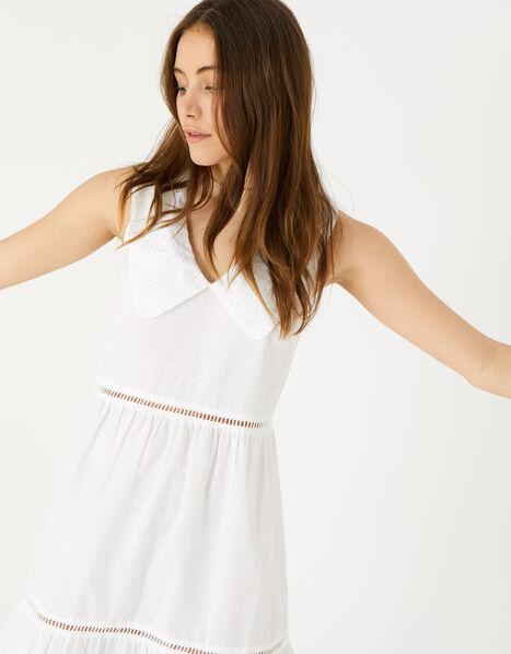 Collared Mini Dress White, White (WHITE), large