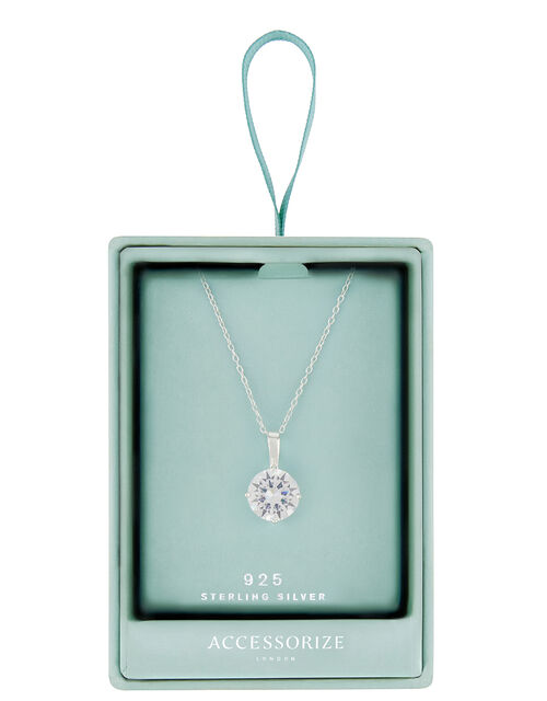 Sterling Silver Round Cut Solitaire Necklace, , large