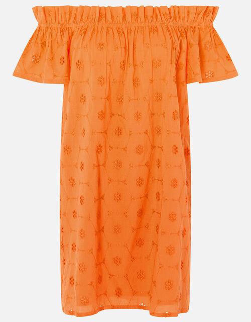 Schiffly Bardot Dress, Orange (ORANGE), large