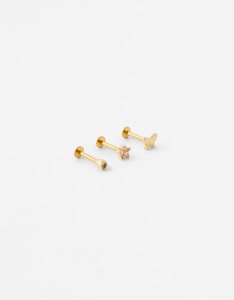 Butterfly and Flower Flat-Back Stud Set, , large