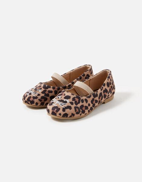 Girls Leopard Print Cat Ballerina Flats Leopard, Leopard (LEOPARD), large