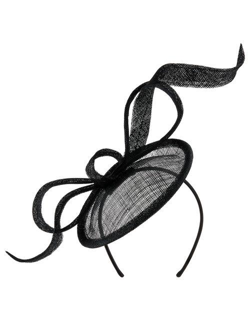 Bow Disc Fascinator, Black (BLACK), large