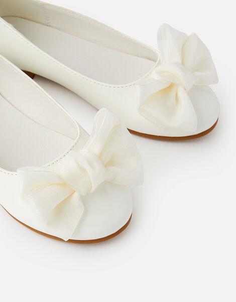 Bow Patent Ballerina Flats Natural, Natural (IVORY), large