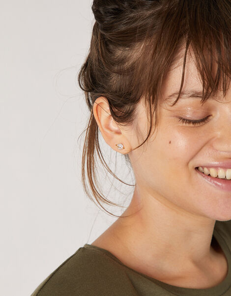 Gold-Plated Sparkle Planet Stud Earrings, , large