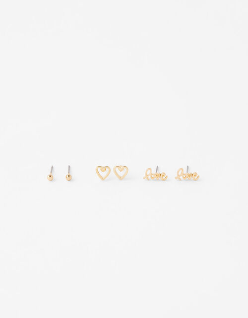 Heart and Love Stud Earring Set, , large