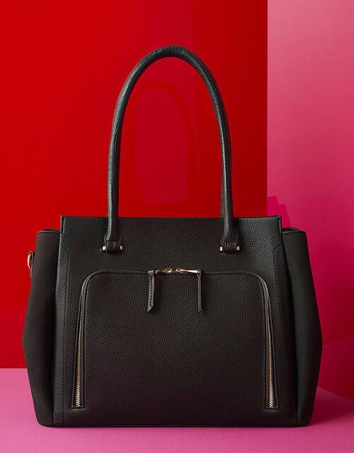 Morgan Vegan Work Tote Bag, Black (BLACK), large
