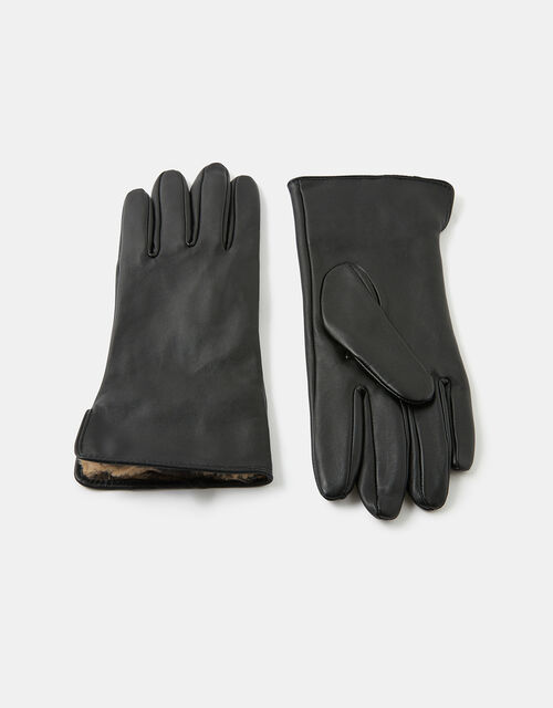 Leopard Faux Fur-Lined Leather Gloves, Leopard (LEOPARD), large