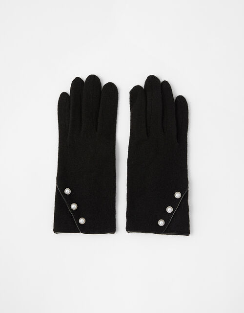 Pearl Button Gloves in Wool Blend, Black (BLACK/WHITE), large