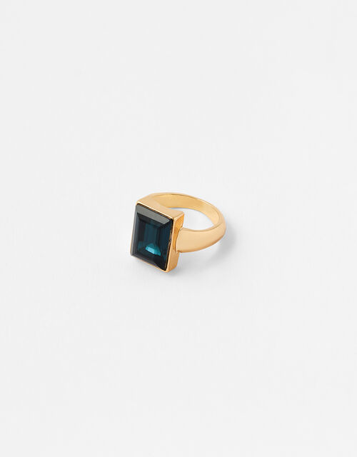 Rectangle Stone Ring, Blue (BLUE), large