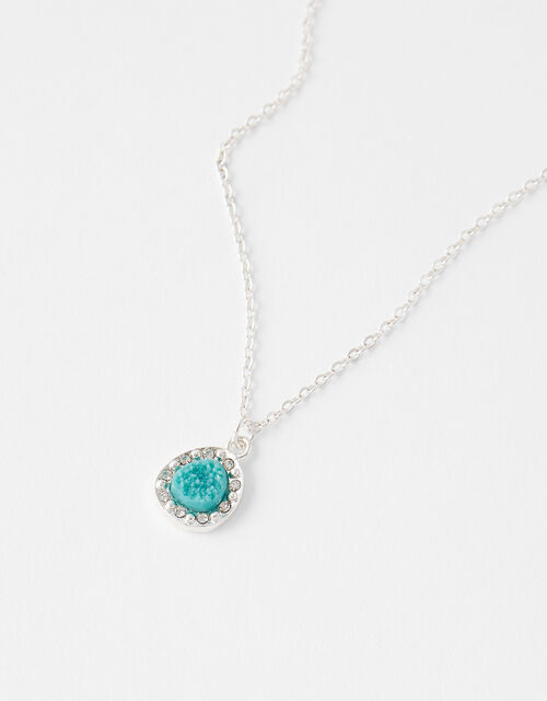 Sparkle Turquoise Pendant Necklace, , large