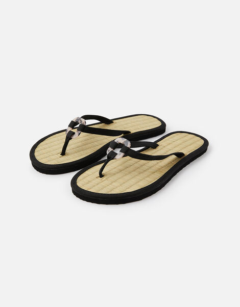 Resin Ring Seagrass Flip Flops  Black, Black (BLACK), large