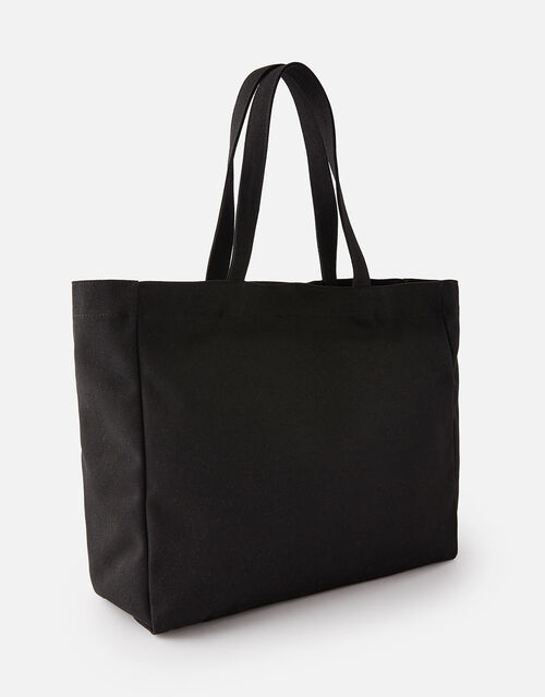 Canvas Shopper Bag, Black (BLACK), large