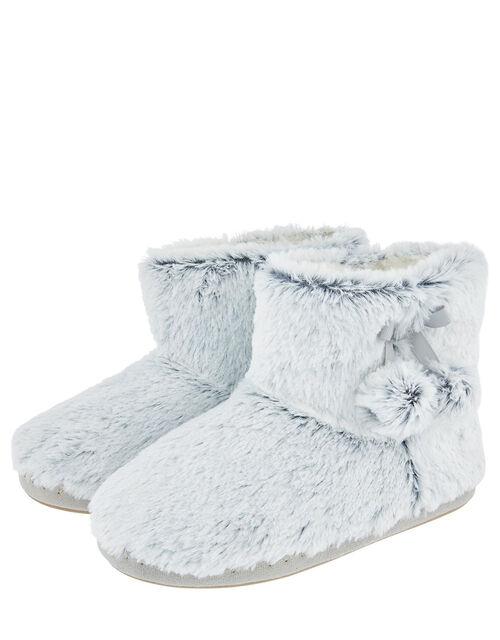 Fluffy Pom-Pom Slipper Boots, Grey (GREY), large
