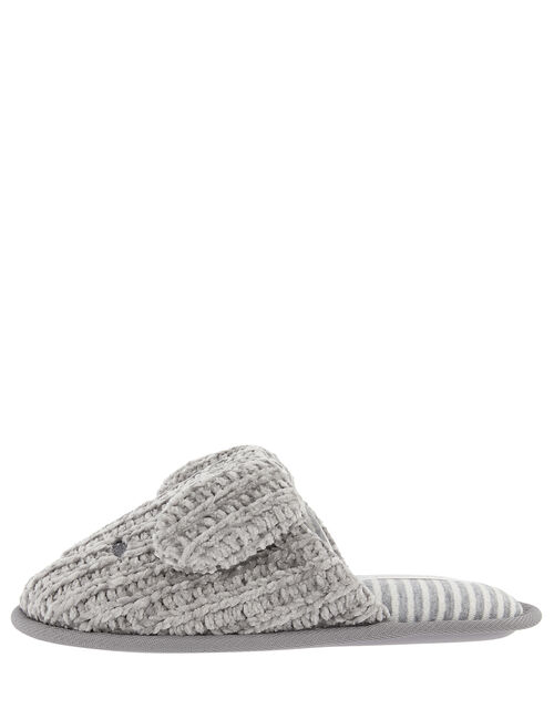 Doggy Chunky Knit Slippers, Grey (GREY), large
